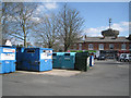 SP0366 : Recycling bins in central car park, Headless Cross, Redditch  by Robin Stott