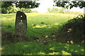 SD2187 : Old stone gatepost and footpath to Wall End by Rob Noble