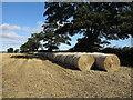 NZ2217 : Straw bales beside B6279 by Trevor Littlewood