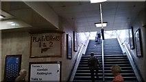 ST1875 : Great Western era signage, platforms 1/2, Cardiff Central / Caerdydd Canalog Station by Christopher Hilton