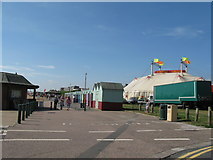 TQ2804 : Beach huts and Zippo's Circus by the King Alfred by Dave Spicer