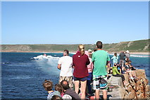 SW3526 : Watching the launching of the lifeboat at Sennen Cove by Rod Allday