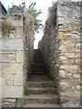 NT8439 : Narrow stone steps up from Penitent's Walk camping site to Coldstream by Stanley Howe