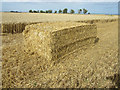 NU2323 : Straw bale in an arable field near Embleton by Graham Robson