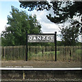 SP1269 : Running-in station sign, Danzey by Robin Stott