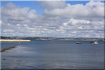 SY6874 : View north across Portland Harbour by John Stephen