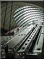TQ3780 : Canary Wharf, Jubilee Line station, west escalator hall by Robin Stott