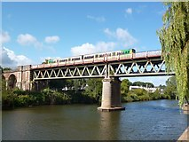 SO8455 : Railway bridge across the River Severn at Worcester by Robin Drayton