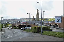 NS2776 : Victoria Tower and Tesco, from Container Way, Greenock by Terry Robinson