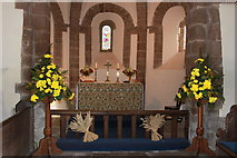 SO4430 : Harvest festival decorations at Kilpeck church by Roger Davies
