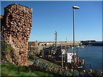 NT6779 : East Lothian Townscape : Wall And Lamp-post At Victoria Harbour, Dunbar by Richard West