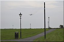SD3727 : Transport Plane heading for Warton Airfield, viewed from Lytham Quays - 2 by Terry Robinson