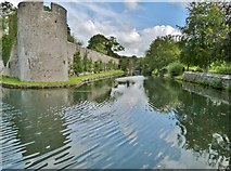 ST5545 : The moat of the Bishop's Palace. Wells by Derek Voller