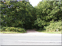 TM0543 : Entrance to Wolves Wood Nature Reserve by Adrian Cable
