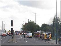 TQ2081 : Fire appliances on A40 by Gypsy Corner, Acton by David Hawgood