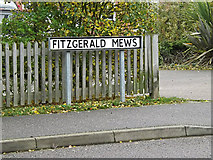 TM3763 : Fitzgerald Mews sign by Adrian Cable