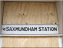 TM3863 : Saxmundham Railway Station sign by Adrian Cable