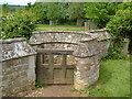 TQ5952 : Gate with curving wall, Shipbourne by Derek Harper