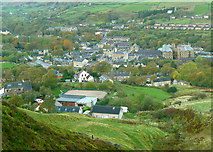 SE0511 : View of Marsden from the Colne Valley Circular Walk near Ellen Clough by Humphrey Bolton