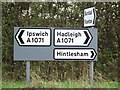 TM1043 : Roadsigns on the A1071 Thorpe's Hill & A1071 Hurdle Maker's Hill by Adrian Cable
