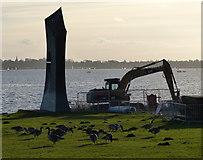 SK9308 : Construction at Rutland Water by Mat Fascione
