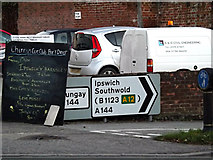 TM3877 : Roadsigns on the A144 Norwich Road by Adrian Cable
