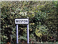 TM4288 : Weston Village sign by Adrian Cable