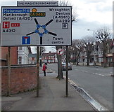 SU1585 : Approaching the Magic Roundabout in Swindon by Jaggery
