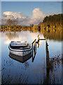 NX3457 : The pier at Clugston Loch by David Baird