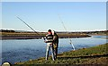 NX9968 : Angling on the River Nith by Walter Baxter