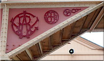 SP1955 : Ornate lettering on the railway station footbridge at Stratford-upon-Avon by Jaggery