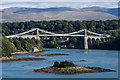 SH5471 : Ynys Welltog and the Menai Suspension Bridge by Ian Capper