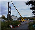 SH7767 : Crane at the Dolgarrog site by Richard Hoare