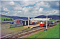 NS8814 : Leadhills: restored station, with narrow-gauge train, 2000 by Ben Brooksbank