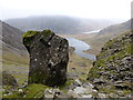 SH6358 : Rock above Cwm Idwal near Devil's Kitchen by Jeremy Bolwell