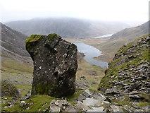 SH6358 : Rock above Cwm Idwal near Devil's Kitchen by Jeremy Bolwell