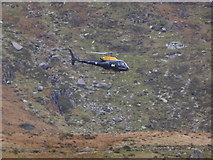 SH6459 : Helicopter in Cwm Idwal by Jeremy Bolwell