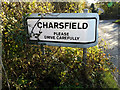 TM2557 : Charsfield Village Name sign by Adrian Cable