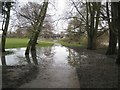 SP2964 : Flood subsiding, St Nicholas Park, Boxing Day by Robin Stott