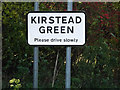 TM2996 : Kirstead Green Village Name sign by Adrian Cable