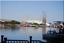 TQ3980 : O2 Arena seen along South Dock by N Chadwick