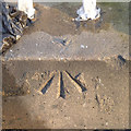 SK5737 : Rivet bench mark on Wilford Suspension bridge by Alan Murray-Rust