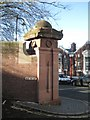 SP0688 : Key Hill Cemetery, Hockley: restored north corner pillar, Key Hill by Robin Stott