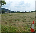 ST7399 : Traffic cone and a rugby pitch, Stinchcombe by Jaggery
