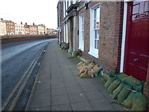 TF4509 : Sandbags by the front doors on South Brink, Wisbech by Richard Humphrey