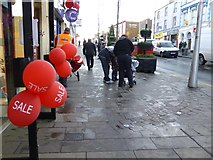 H4572 : Red balloons, High Street, Omagh by Kenneth  Allen