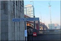 TQ3078 : Thames Path signs, Vauxhall Bridge by Jim Barton