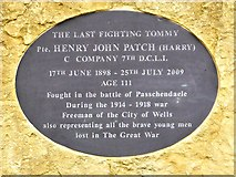 ST5545 : Memorial to Harry Patch, Wells Cathedral Green by David Dixon