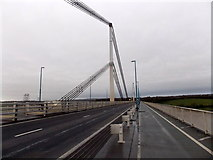 ST5491 : Wye Bridge supporting tower and cables, Beachley by Jaggery