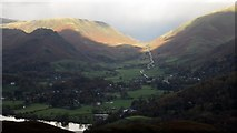 NY3307 : Grasmere and Dunmail Raise seen from the summit of Loughrigg by Graham Robson